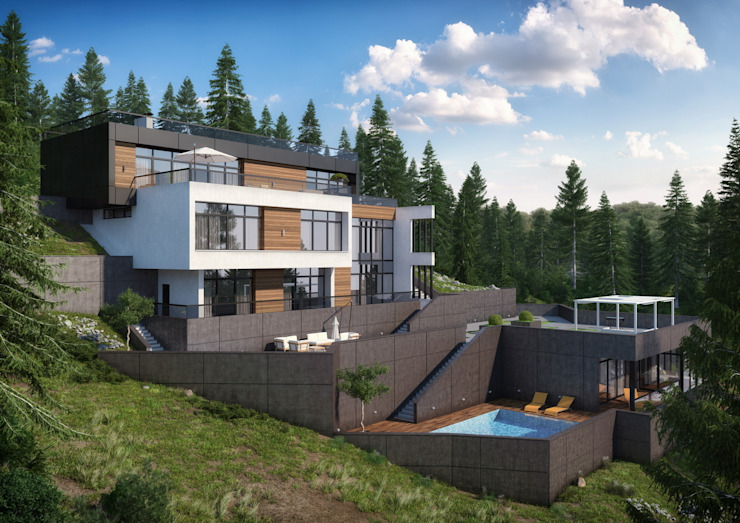 Дом в Лазаревском Дома в стиле минимализм от Максим Любецкий Минимализм