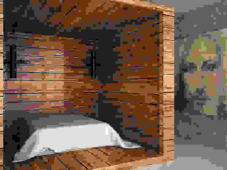 Cubes in flat Спальня в эклектичном стиле от SHKAF interior architects Эклектичный