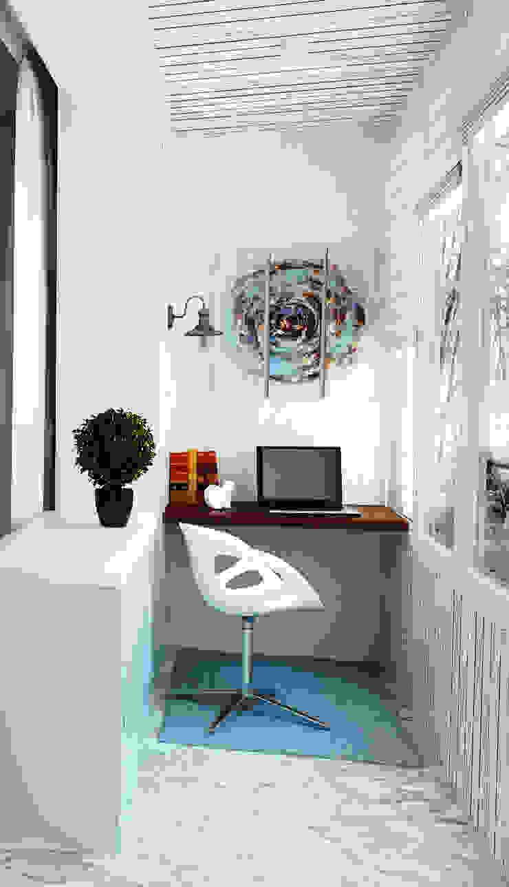 Кабинет на лоджии Балконы и веранды в эклектичном стиле от Olesya Parkhomenko Эклектичный