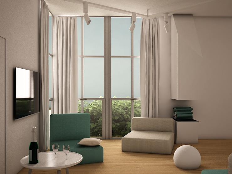 Townhouse Origami Гостиная в стиле минимализм от SHKAF interior architects Минимализм