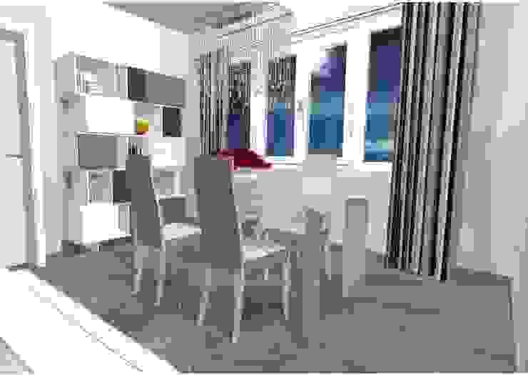 Zona pranzo con un tocco di colore Sala da pranzo moderna di Indefinito Moderno