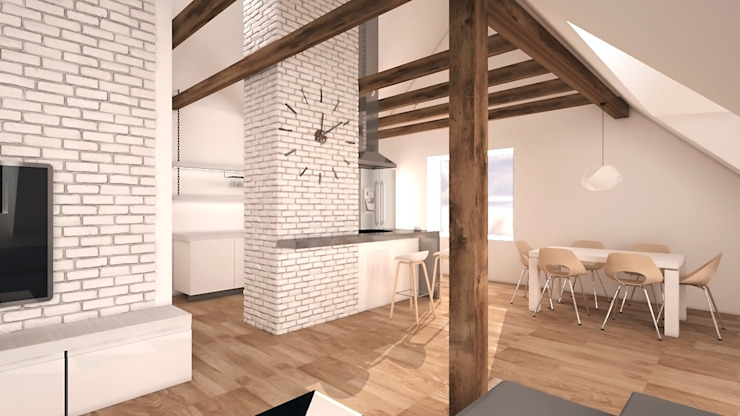 Mieszkanie na poddaszu Minimalistyczna jadalnia od creo:line Pracownia Architektury Karolina Czech Minimalistyczny