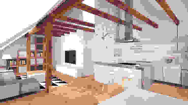 Mieszkanie na poddaszu Minimalistyczny salon od creo:line Pracownia Architektury Karolina Czech Minimalistyczny