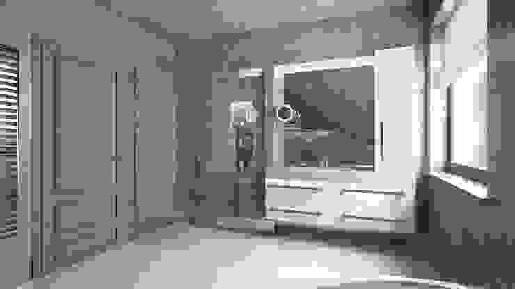 Elegancka, szara łazienka Minimalistyczna łazienka od creo:line Pracownia Architektury Karolina Czech Minimalistyczny