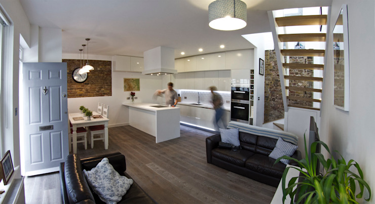 Open plan living/dining/kitchen Moderne keukens van R+L Architect Modern