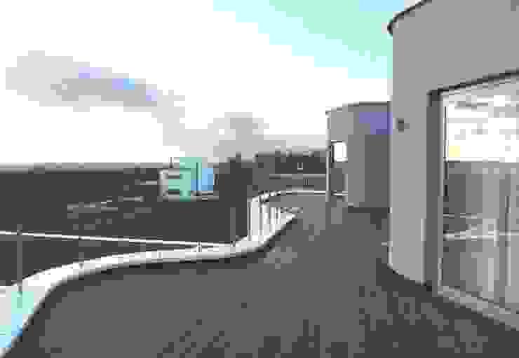 villa Almere Overgooi, terras tuinzijde Moderne balkons, veranda's en terrassen van Florian Eckardt - architectinamsterdam Modern