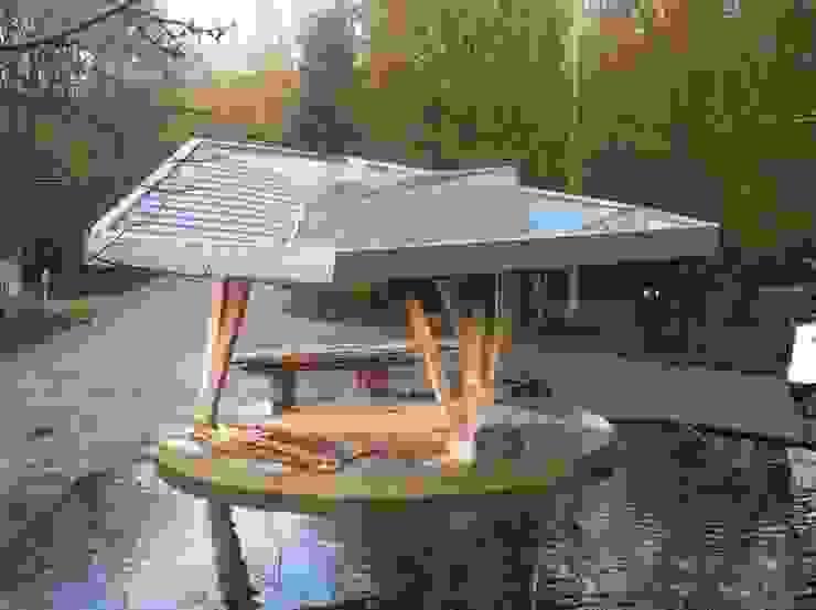 Stadshoutpaviljoen Amstelpark, vogelvlucht Moderne exhibitieruimten van Florian Eckardt - architectinamsterdam Modern