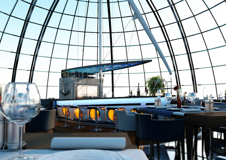 Tunisian restaurant Modern Balkon, Veranda & Teras BA DESIGN Modern