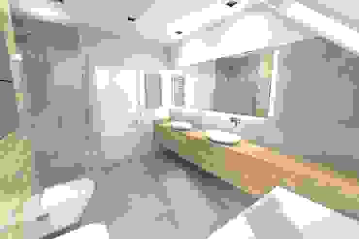 Projekt łazienki ogólnodostępnej na poddaszu Nowoczesna łazienka od Orange Studio Nowoczesny