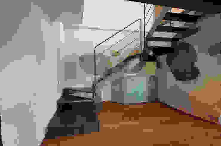 Modern corridor, hallway & stairs by supercake Modern
