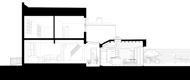 Section through house by homify
