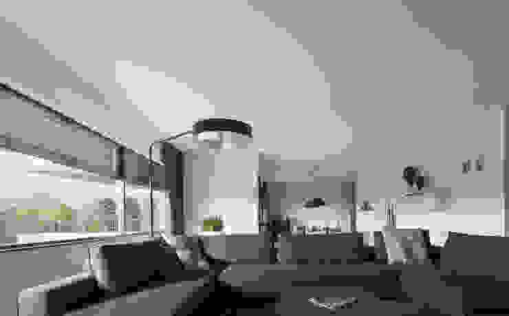 zwart - wit penthouse woonkamer Moderne woonkamers van Interieurvormgeving Inez Burvenich Modern