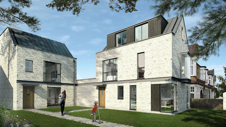 View of proposed houses from street. by Mohsin Cooper Architects