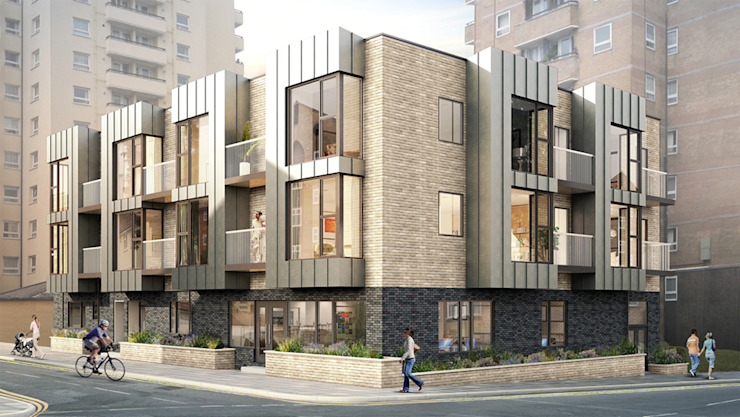 A mixed use scheme of 9 residential flats with office space at ground floor level. by Mohsin Cooper Architects