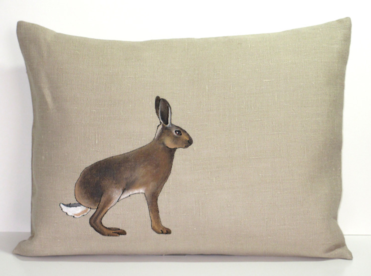 Hand Painted and Embroidered Hare Cushion: country  by Lottie's Cottage, Country