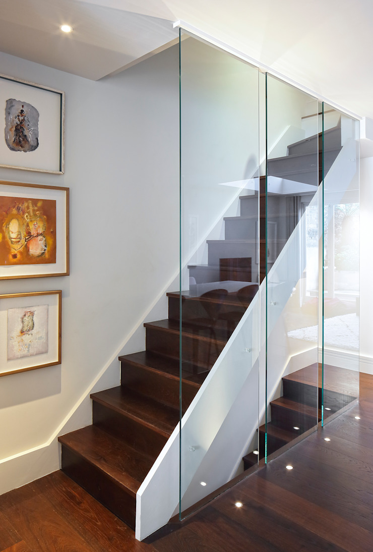 Redesdaale Street Chelsea Basement Development Staircase with Glass Balustrade Modern corridor, hallway & stairs by Shape Architecture Modern