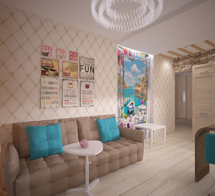 Кухня-гостиная Гостиная в скандинавском стиле от Студия дизайна Виктории Силаевой Скандинавский