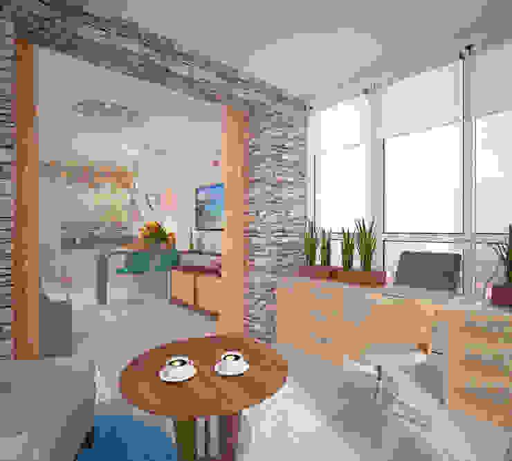 Кухня-гостиная Балкон в скандинавском стиле от Студия дизайна Виктории Силаевой Скандинавский