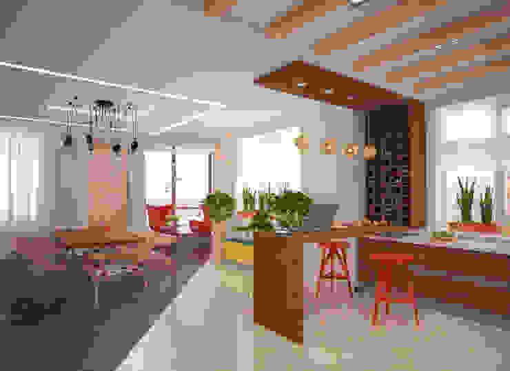 Квартира 160 кв.м. в ЖК<q>Эдем</q> Новосибирск Кухня в стиле лофт от Студия дизайна Виктории Силаевой Лофт