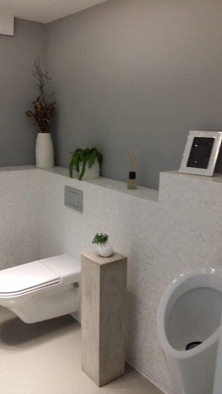 Pure white Freshwater Mother of Pearl mosaics used by our partner, Inca Design Modern bathroom by ShellShock Designs Modern