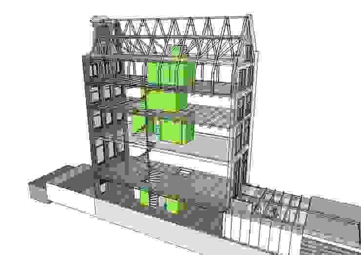 Het principe van de kerne in de oude monumentale schil van CUBE architecten