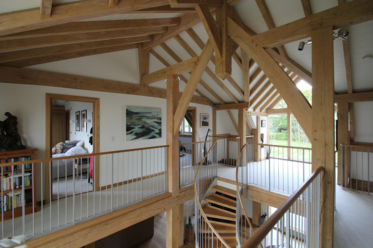 The main hall and gallery Country style corridor, hallway& stairs by Hale Brown Architects Ltd Country