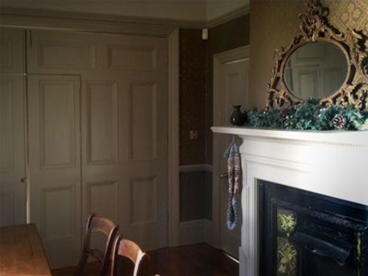 Original panelled doors restored and painted in Farrow and Ball Hardwick White Classic style dining room by The Victorian Emporium Classic