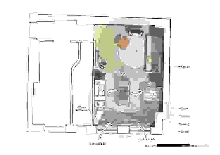 Wohnzimmer mit Koch- und Essbereich von habes-architektur
