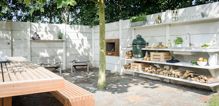 WWOO Concrete Outdoor Kitchen:  Tuin door NewLook Brasschaat Keukens,