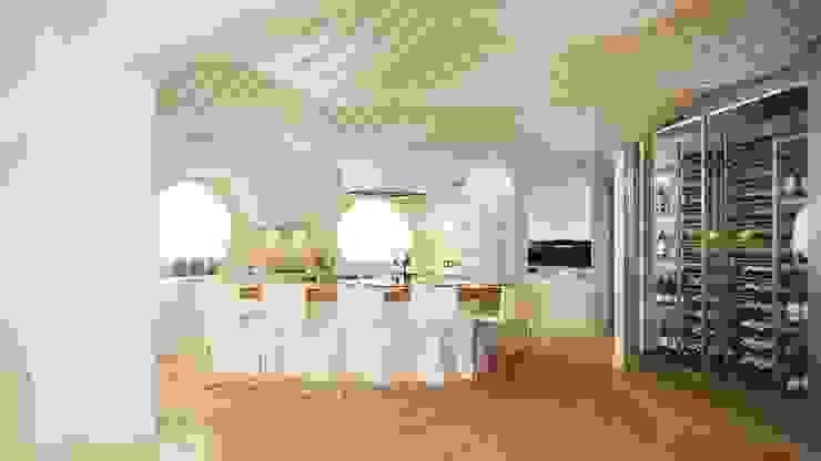 Vista General de la cocina - Diseño 3D - Cocinas de estilo mediterráneo de EXA4 AEC Soft & Services Mediterráneo