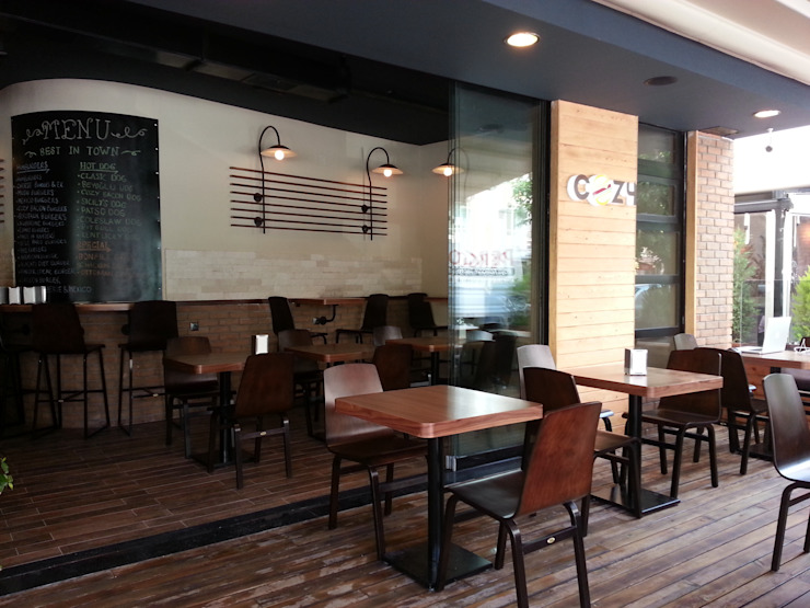 Cozy Burger & Steak - Adana Modern Balkon, Veranda & Teras Emre Urasoğlu İç Mimarlık Tasarım Ltd.Şti. Modern
