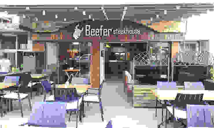 Beefer Steak House Modern Balkon, Veranda & Teras Emre Urasoğlu İç Mimarlık Tasarım Ltd.Şti. Modern