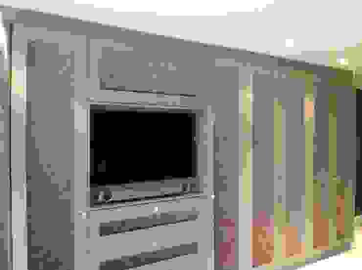 wardrobes with inset TV.: modern  by Designer Vision and Sound: Bespoke Cabinet Making, Modern