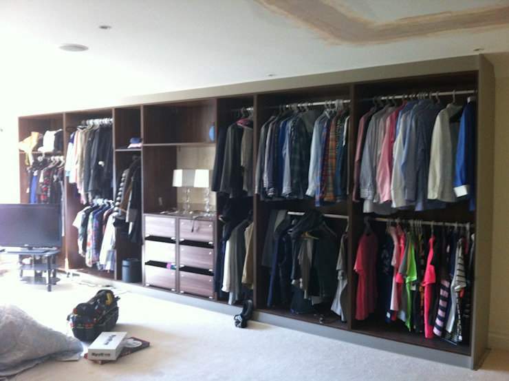multiple his and hers storage areas.: modern  by Designer Vision and Sound: Bespoke Cabinet Making, Modern