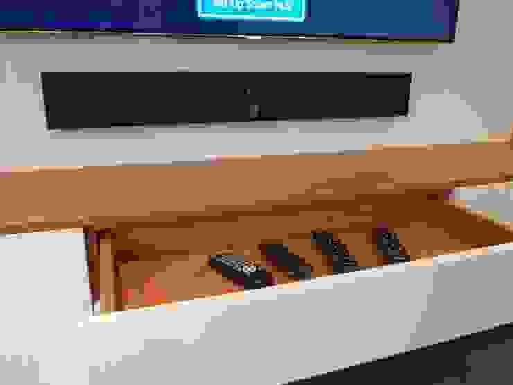 Bespoke, floating media and storage unit.: modern  by Designer Vision and Sound: Bespoke Cabinet Making, Modern