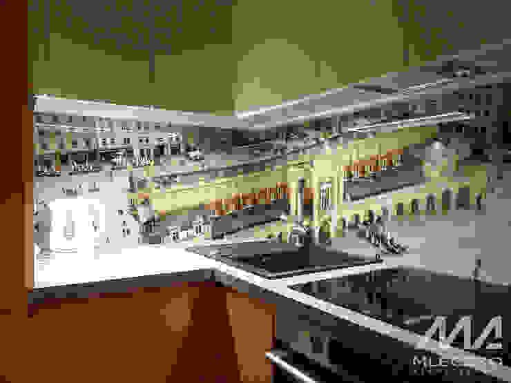 Adaptacja poddasza w centrum Krakowa Nowoczesna kuchnia od Mleczko architektura Nowoczesny