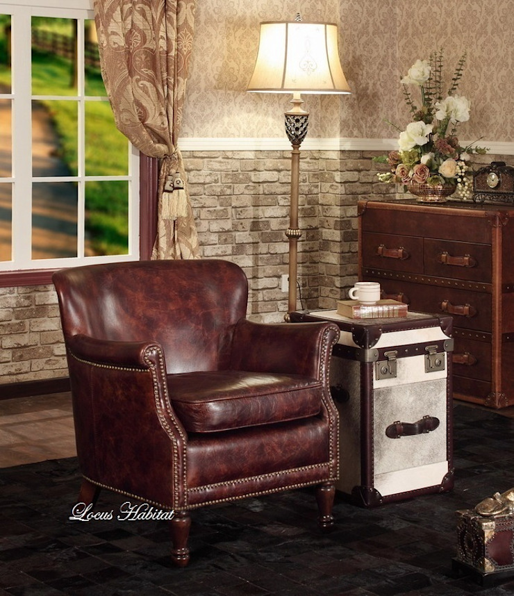 Leather armchair Locus Habitat ห้องนั่งเล่นโซฟาและเก้าอี้นวม