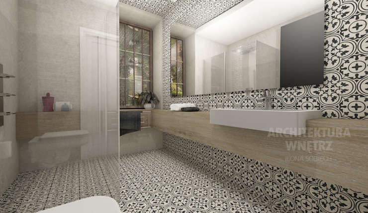 Baños modernos de Architekt wnętrz Ilona Sobiech Moderno