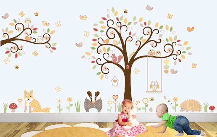 Deluxe Woodland Animal Nursery Wall Art Sticker Design for a baby boys or baby girls nursery room:  Nursery/kid's room by Enchanted Interiors
