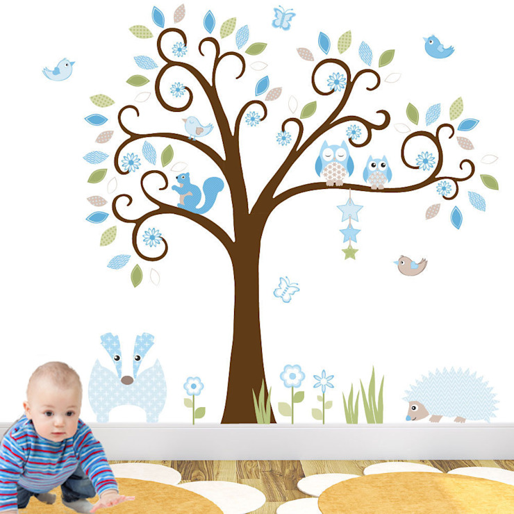 Woodland Animal Luxury Nursery Wall Art Sticker Design for a baby boys nursery room:  Nursery/kid's room by Enchanted Interiors