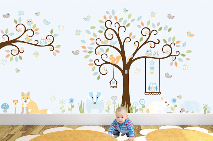 Deluxe Woodland Animal Luxury Nursery Wall Art Sticker design for a baby boys or baby girls nursery room par Enchanted Interiors Moderne