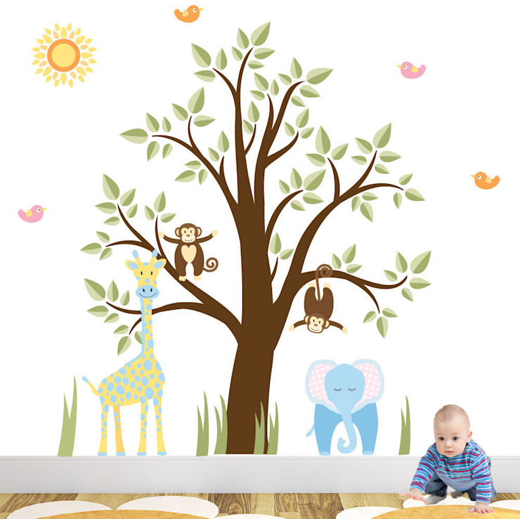 Jungle Animal Luxury Nursery Wall Art Sticker Design for a baby boys nursery room by Enchanted Interiors Modern