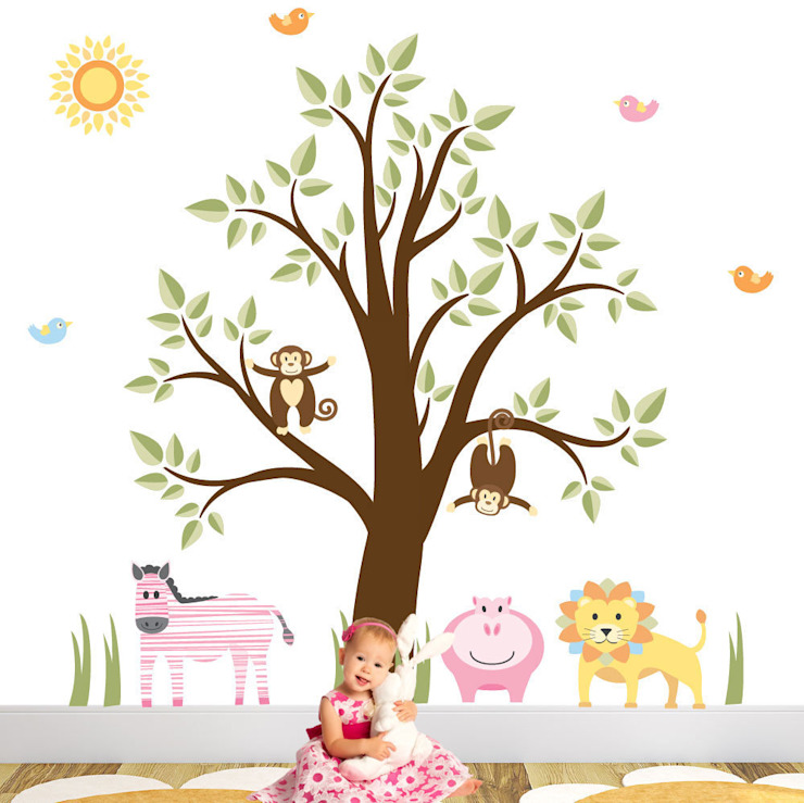 Jungle Animal Luxury Nursery Wall Art Sticker Designs for a baby girls nursery room by Enchanted Interiors Modern
