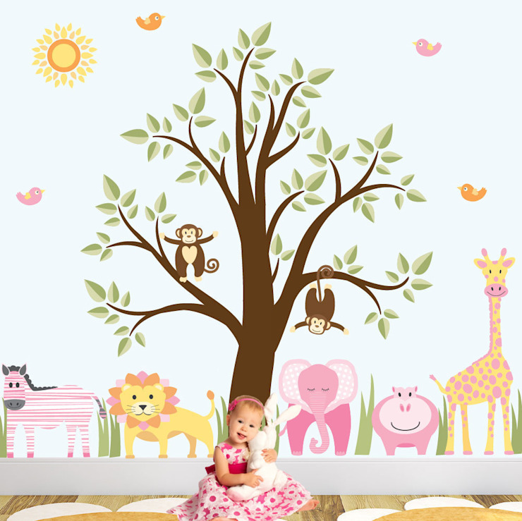 Deluxe Jungle Animal Luxury Nursery Wall Art Sticker Design for a baby girls nursery room by Enchanted Interiors Modern