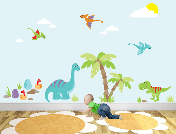 Dinosaur Luxury Nursery Wall Art Sticker Design for a baby boys nursery room by Enchanted Interiors Modern