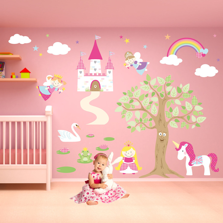 Deluxe Enchanted Fairy Princess Luxury Nursery Wall Art Sticker Design for a baby girls nursery room by Enchanted Interiors Modern
