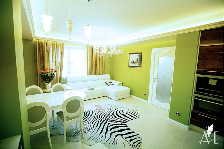 Интерьер квартиры 80 м2 Гостиные в эклектичном стиле от Apolonov Interiors Эклектичный
