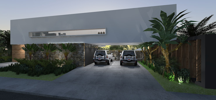 Casa JA Garagens e edículas minimalistas por ZAAV Arquitetura Minimalista