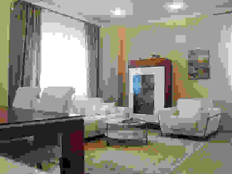 Светлая четырёхкомнатная квартира Гостиные в эклектичном стиле от Дизайн В Стиле Эклектичный