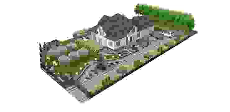 Ogród w którym dominują kształty wjazdu na posesję i wejścia do ogrodu od STYLOWE OGRODY